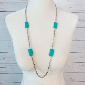 Ann Taylor Turquoise and Silver Chain Neclace